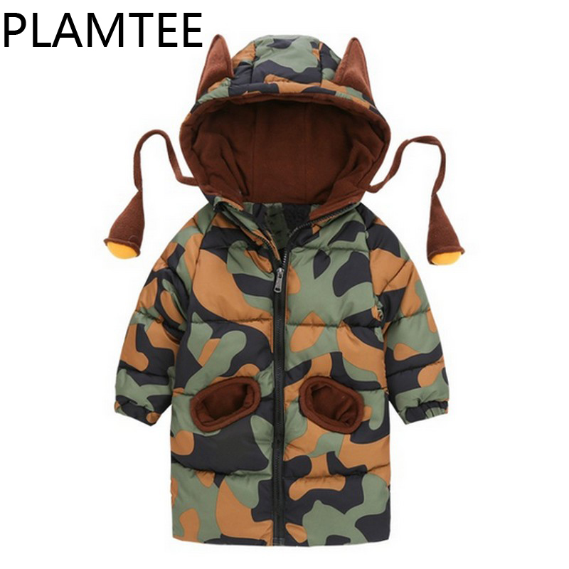 цена PLAMTEE Cotton Kids Clothes 2017 Winter Jackets For Girls Camouflage Hoody Down Jacket For Boy Cute Zippper Children Overwear онлайн в 2017 году
