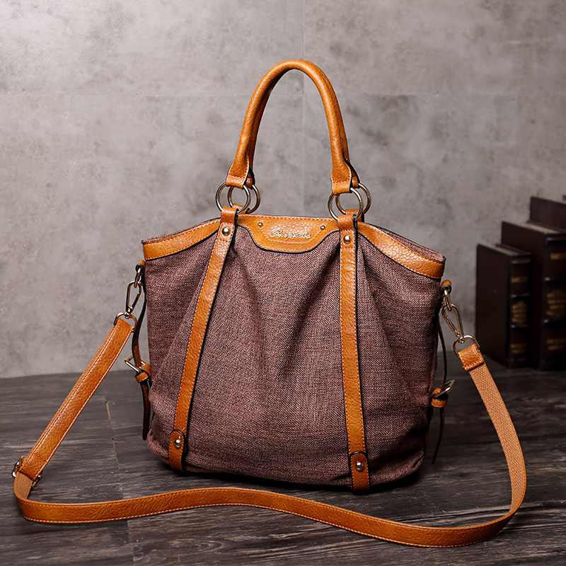 Vintage Women Genuine Leather Tote Bag New Leisure Top-handle Bags Lady Casual Cow Leather Crossbody Shoulder Bags Handbag T57