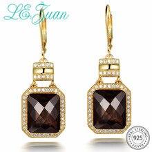 L& zuan натуральный 12.02ct дымчатый кварц Висячие серьги для женщин 925 серебро прямоугольный драгоценный камень золотые серьги Винтаж ювелирные украшения