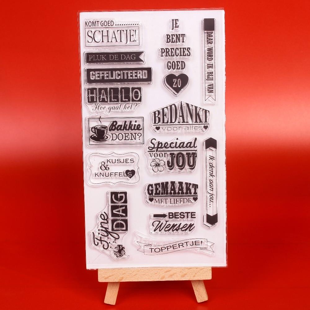 Palabras holandesas sello de silicona transparente transparente / - Artes, artesanía y costura