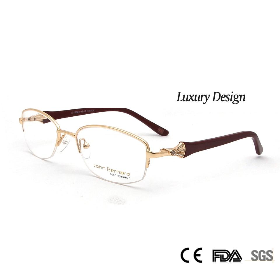 Sorbern Högkvalitativa kvinnor metall glasögonramar Optisk diamant lyxig Rshinestone design glasögon myopia glasögon Oculos