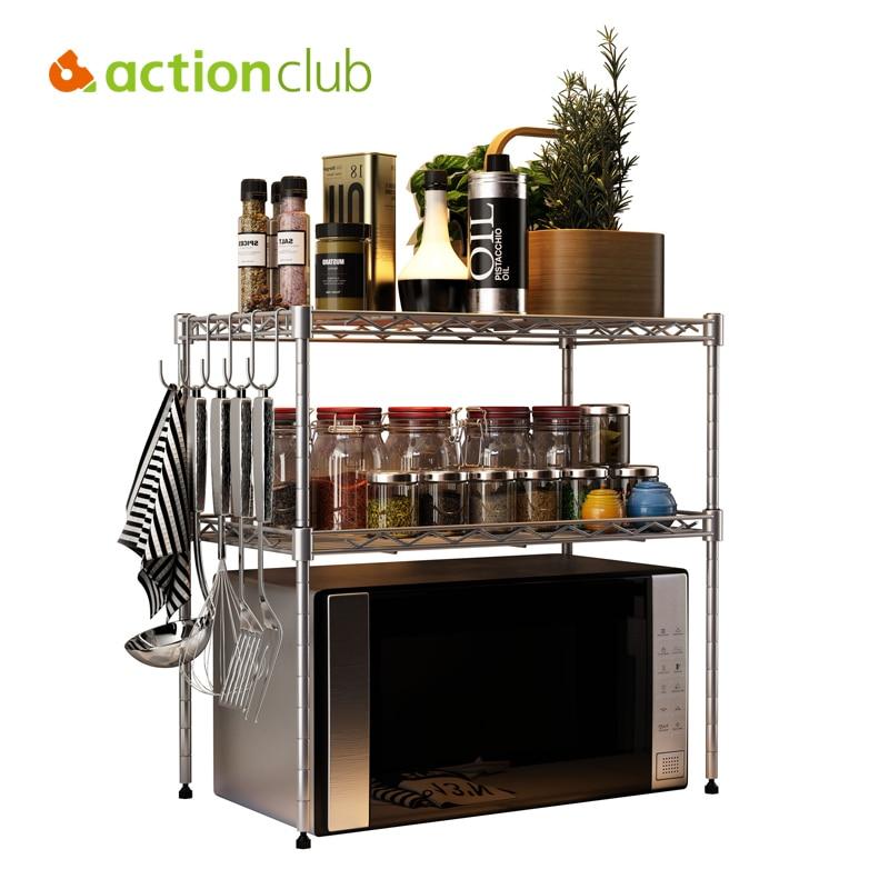 Kitchen 3 Tier Metal Storage Rack Spice Kitchen Tool Storage Holder Microwave Oven Shelf with Hooks