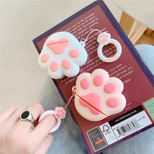 Simple pink cat claw + lanyard suitable clear hard cover silicone luxury keychain  accessories for airpods case  наушники беспро