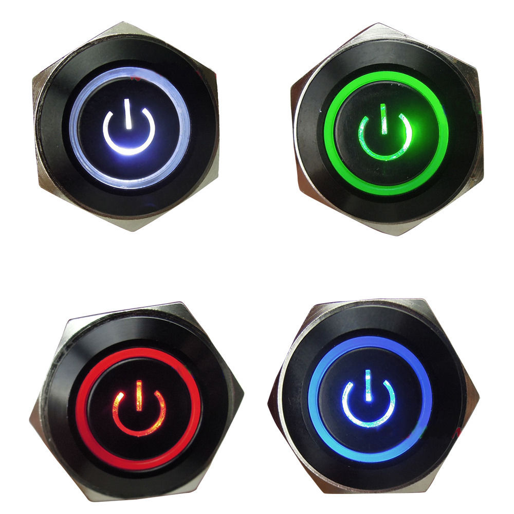 EE support 4Pcs 12V 3A 16mm Symbol & Circle LED Black Metal Push ...
