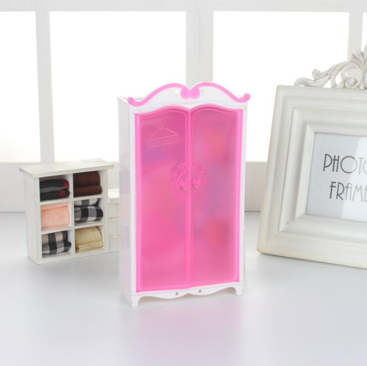 For Armoire Barbie Doll Accessories Furnitures Miniature Cabinet Pink Barbie Furniture Wardrobe Princess Bedroom Closet