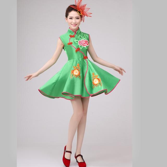 Chineses trajes de dança yangko dança tradicional chinesa traje coro tambor fã fã de dança trajes de dança chinesa