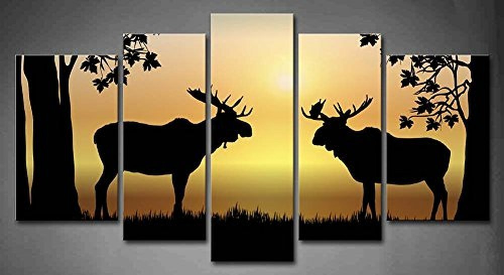 FBANMU 5 Panels Moose At Sunrise Illustration Of Two Moose In Forest At Sunrise Painting Picture Print On Canvas Animal Pictures