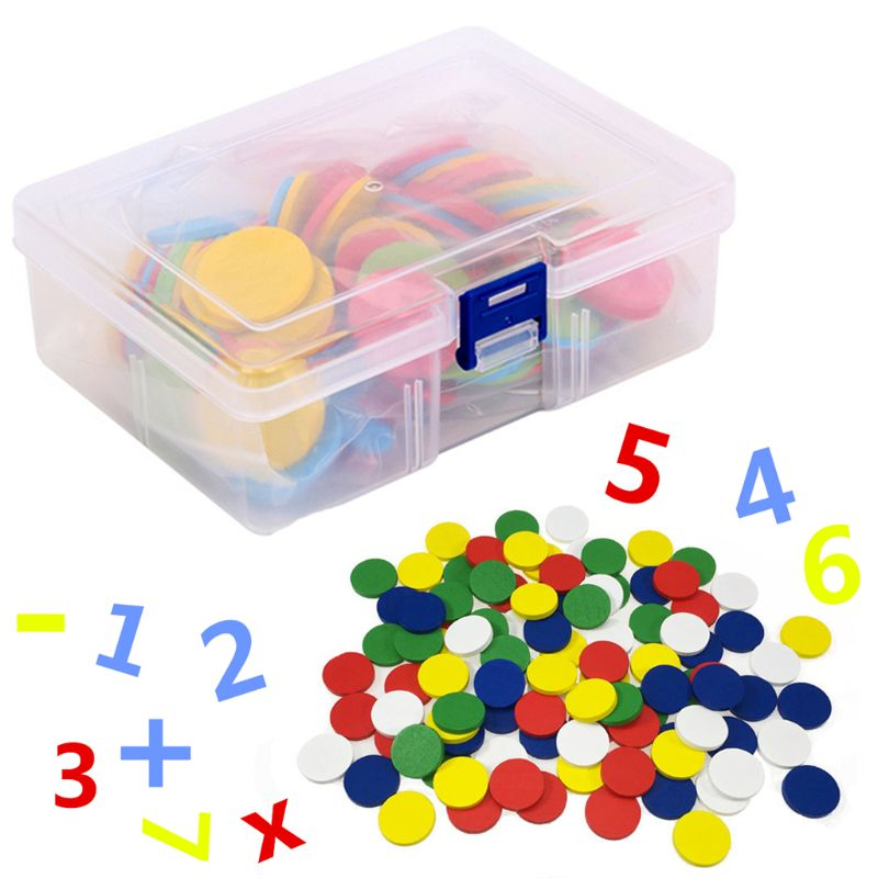 117Pcs Counters Counting Chips 30mm Mixed Colors Math Toy For Bingo Chips Game Tokens With Storage Box