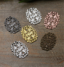 20pcs 24x32mm Vintage Hollow Flower Motif Charms Silver Plated Flower Jewelry Findings for DIY Necklace Bracelet Making