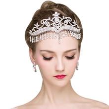 Luxury Rhinestone Tassel Fringe Bridal Tiaras Silver Flower Crystal Diadem Veil Crown Wedding Hair Accessories Headpieces
