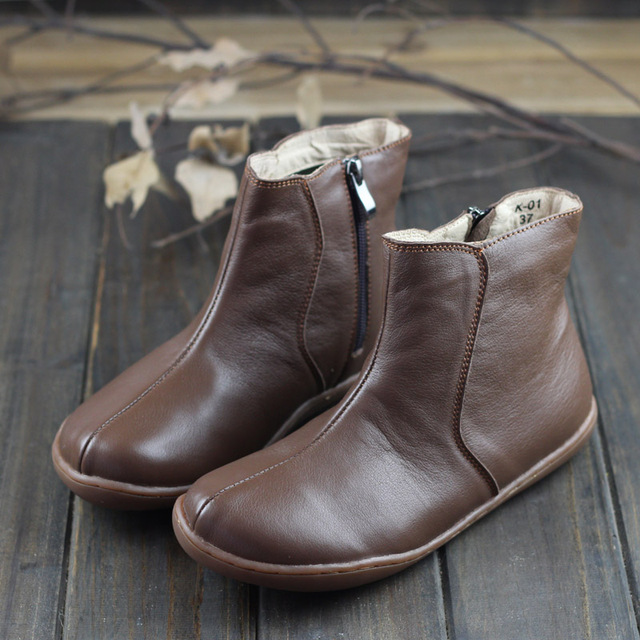 Womens Boots Genuine Leather Ladies Ankle Boots Woman Barefoot Shoes Female Spring -4443