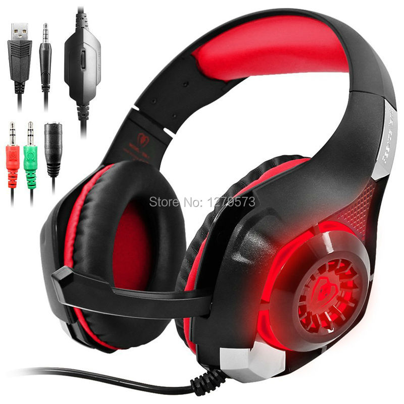 MERISPORT Gaming Headsets with LED Light, Headband Headphones for Playstation 4 PSP Xbox one Tablet iPhone Samsung Smartphone PC
