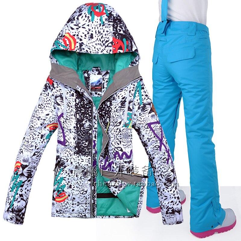 GSOU NEIGE Femmes combinaison de Ski Snowboard Veste Pantalon Super Chaud Coupe-Vent Imperméable À L'eau En Plein Air Sport Wear Vêtements D'hiver Pantalon Costume