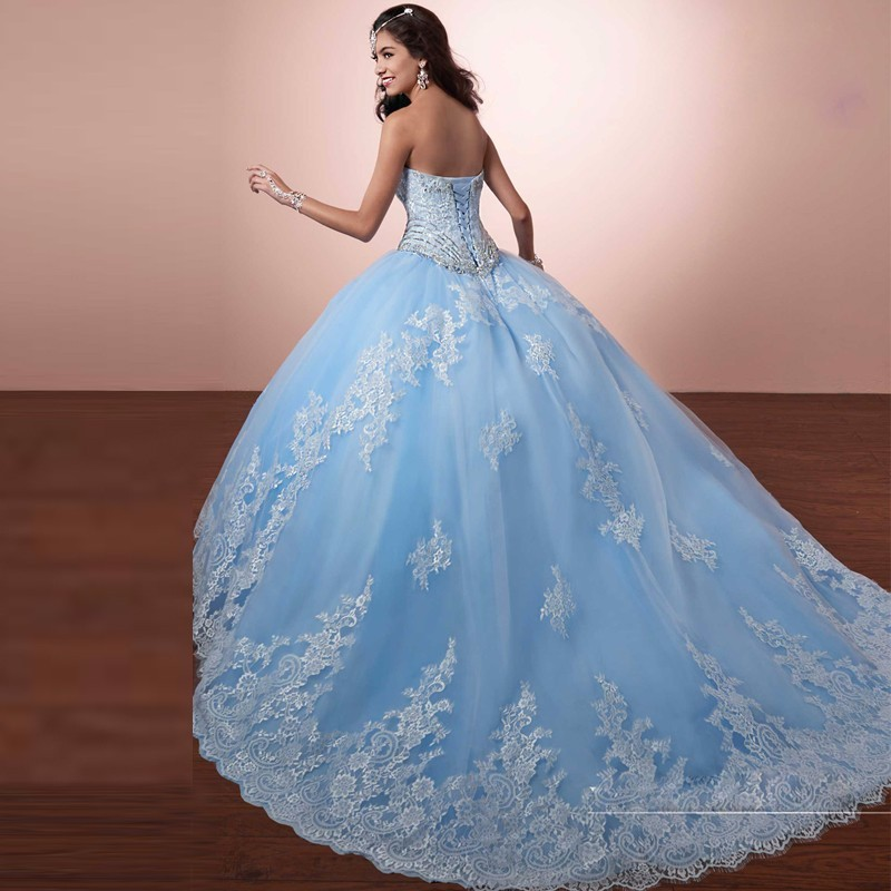 popular wedding dresses with blue accents buy cheap