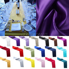 10 pieces 30cm x 275cm Satin Table Runners For Wedding Party Banquet Decoration Supply Top Quality New(China)