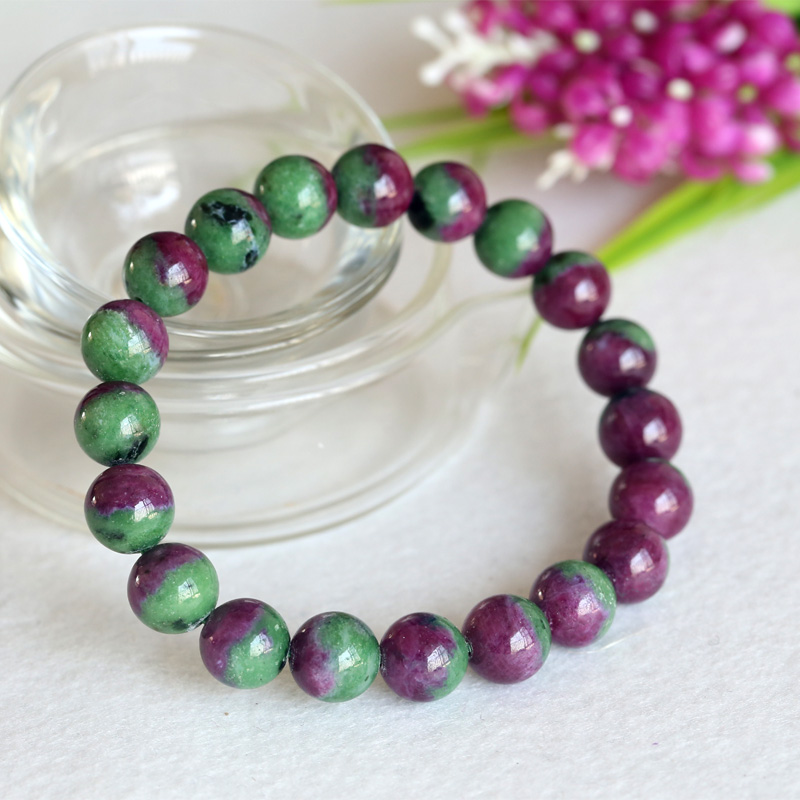 10 mm Vert Naturel Ruby Gemstone Faceted Round Beads Necklace 18/""
