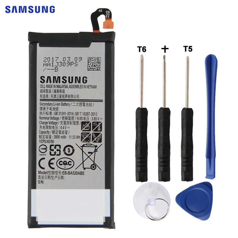 SAMSUNG Original Replacement Battery EB-BA520ABE For Samsung GALAXY A5 2017 A520 SM-A520F 2017 Edition A520F 3000mAh AuthenticSAMSUNG Original Replacement Battery EB-BA520ABE For Samsung GALAXY A5 2017 A520 SM-A520F 2017 Edition A520F 3000mAh Authentic