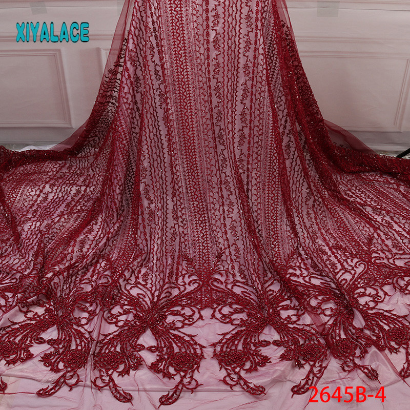 Handmade Lace Nigerian Beaded Lace Fabrics African French Lace Fabric 2019 High Quality Lace Tulle For Party Dress YA2645B-4