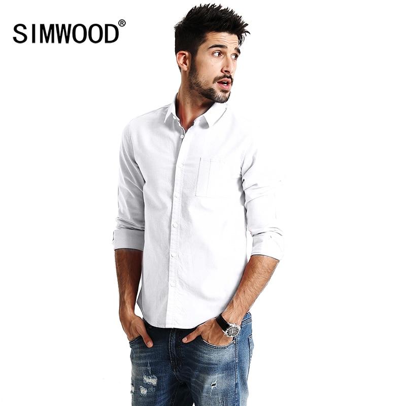 Simwood 2019 ربيع جديد عارضة قمصان الرجال طويلة الأكمام 100٪ القطن الخالص يتأهل زائد حجم جودة عالية أكسفورد حك قميص CS1597