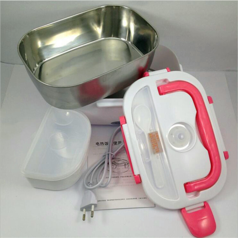 220V Household High Quality Electric Heating Lunch Box Stainless Steel Inner Portable Lunch Box EU/AU/UK For School Office bear dfh s2516 electric box insulation heating lunch box cooking lunch boxes hot meal ceramic gall stainless steel