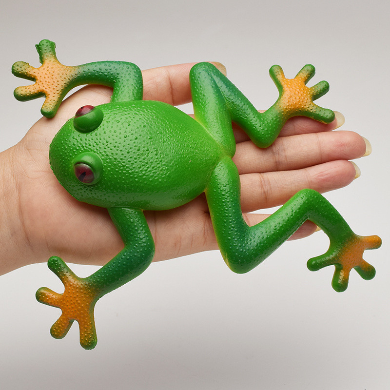 Frog Model Plastic Figures Kids Toy Sets Halloween Gift Emulation Education Green Frog Landscape Decor 15*15cm