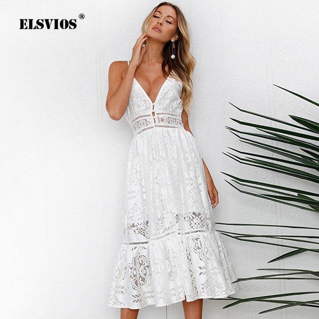 ELSVIOS Fashion Strap Backless Women Dress 2018 Summer Sexy V Neck button Lace Dresses Casual White Beach Dress Female Vestidos