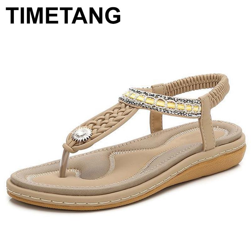 TIMETANG Women Shoes Comfort Sandals Summer Flip Flops High Quality Flat Sandals Gladiator Sandalias Mujer Black Size 36-44 E151