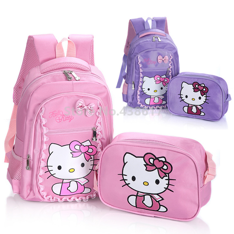 Cute Pink Purple Hello Kitty Girls Backpack School Bag With Lunch Set 2 for  Children Kids Primary School Book Bags 079c162e84446