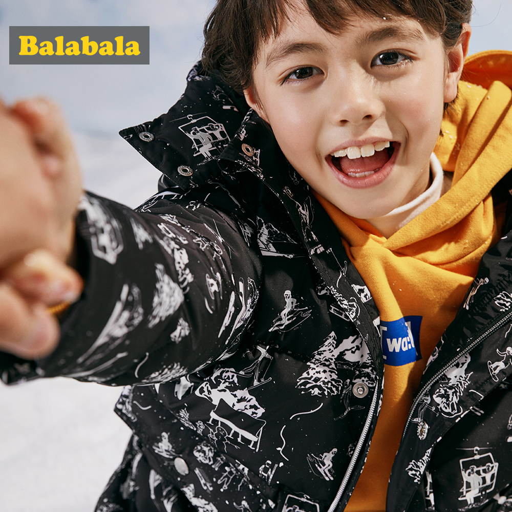 Balabala New Fashion Children Winter Jacket boys Winter Coat Kids Warm Thick Collar Hooded Long duck Down Coats for 6-11T