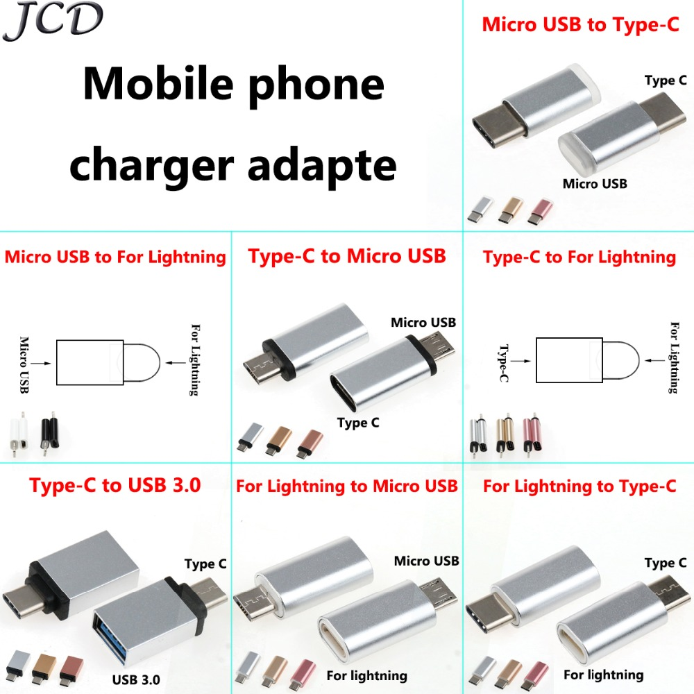 JCD 2X USB Adapter USB C To Micro USB Converter Cable Type C Adapter USB 3.0 For Iphone X 8 7 6 5 For Huawei P10 P9 OTG Adapter