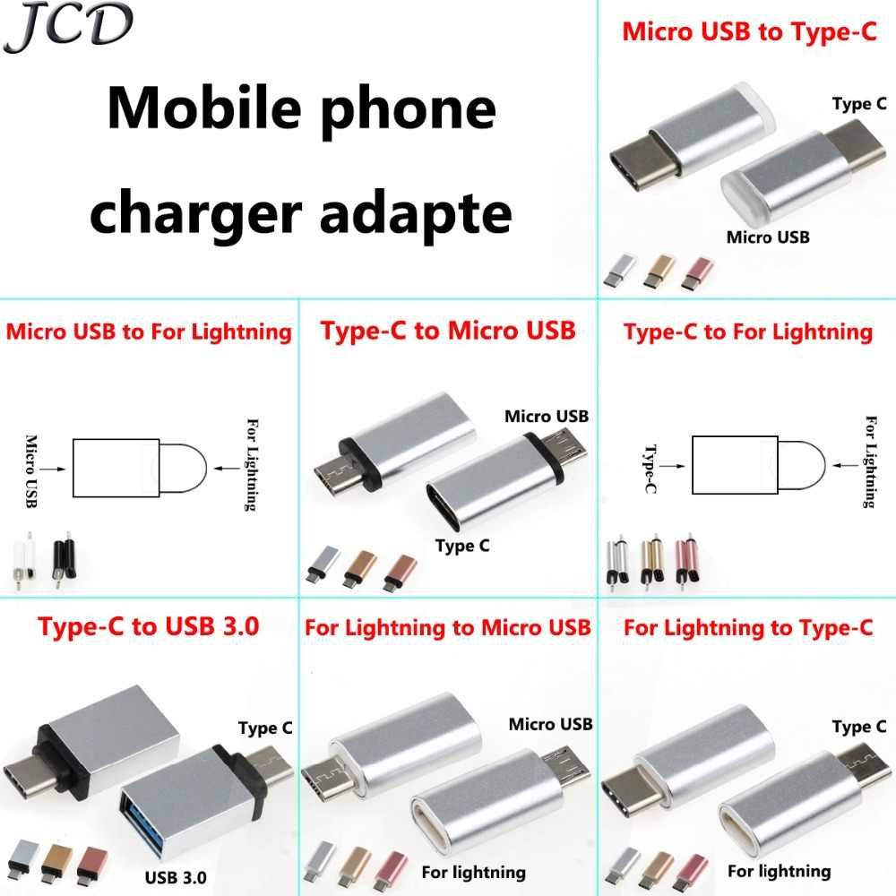 JCD 2X USB محول USB C إلى المصغّر usb محول كابل نوع C محول USB 3.0 ل iphone X 8 7 6 5 لهواوي p10 p9 وتغ محول