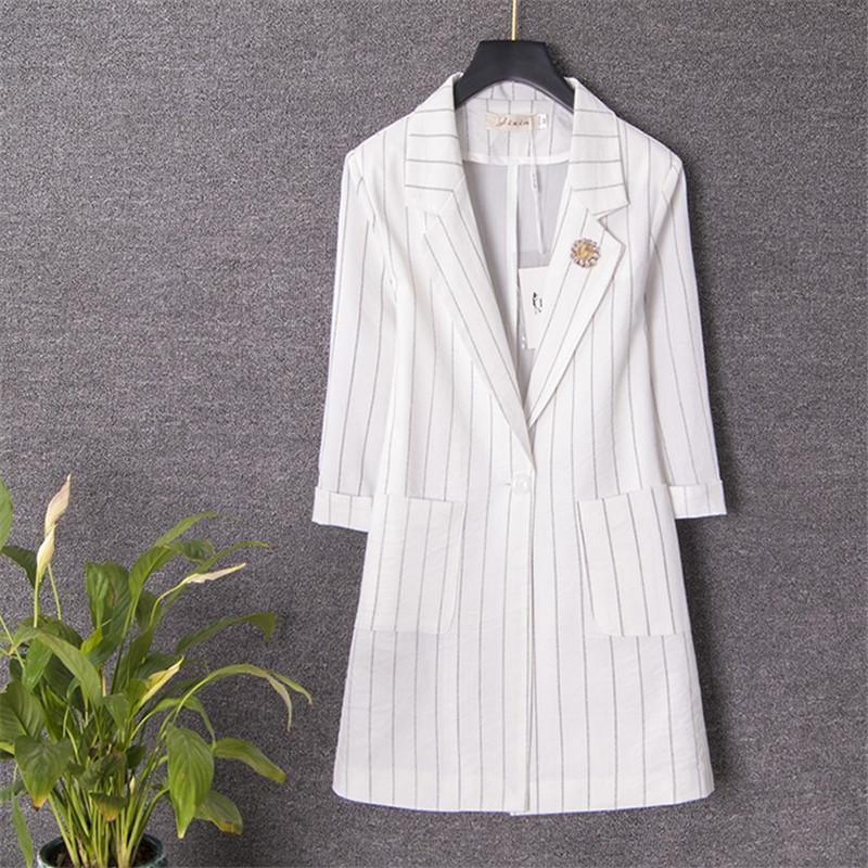 2019 New Spring Autumn Woman Pocket Striped Blazer Jacket Coat Single Button  Chic Long Suit Female Casual Retro Outerwear X02 thumbnail