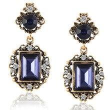 1924be0794aa E0242 vintage Royal Blue Crystal rhinestone Pendientes de gota geometría moda  ronda pendiente Pendientes para mujeres boda joyer.