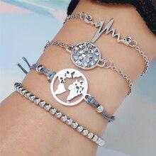 Bohopan Women Fashion Vintage Beads Charm Bracelets Elegant Bohemia Design Bracelet Sets Double Thin Blue Line armband