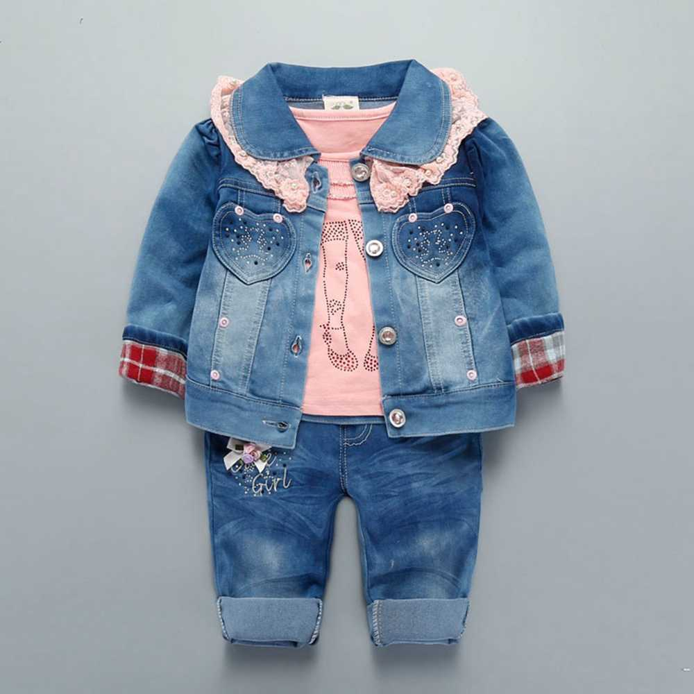 3pcs Outfits Kids Baby Girls T-Shirts Top Coat Pants Long Trousers Clothes Sets