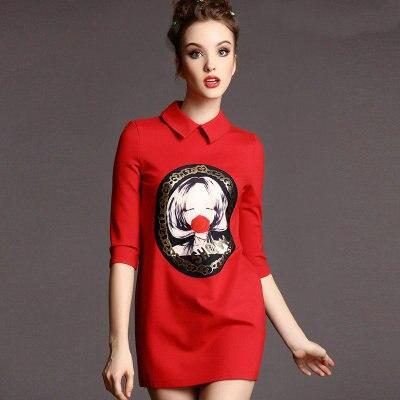 Новое весеннее женское платье лацкан мультфильм печати Прямое выставочное платье для стройных платьев - Цвет: Красный