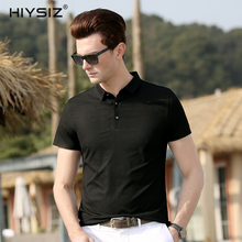 HIYSIZ New Hot T-Shirts Men 2019 Streetwear Soft Solid Casual T Shirt Turn-down Colla Two buttons TShirts For Summer ST023