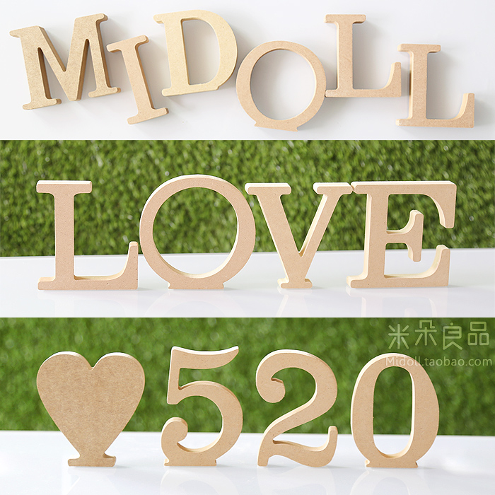 10cm Wedding Decoration Metope Adornment Home Decoration Items Wood Carving Wooden Letters Alphabet Alphanumeric British