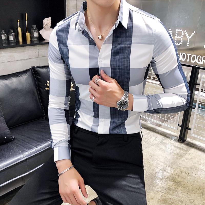 2019 spring new original plaid men's shirt Korean Slim men's wear free British fashion long sleeved shirt
