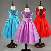 Vestidos Sequin Flower Girls Dresses For Wedding Party Birthday Princess Formal Dress European Style Brand Children