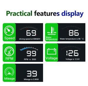 Image 4 - Geyiren 3.5 Schermo HUD Auto OBD II HUD Head Up Display M6 Auto Display della Temperatura Dellacqua Auto di Tensione Elettronico allarme DC12V Hud