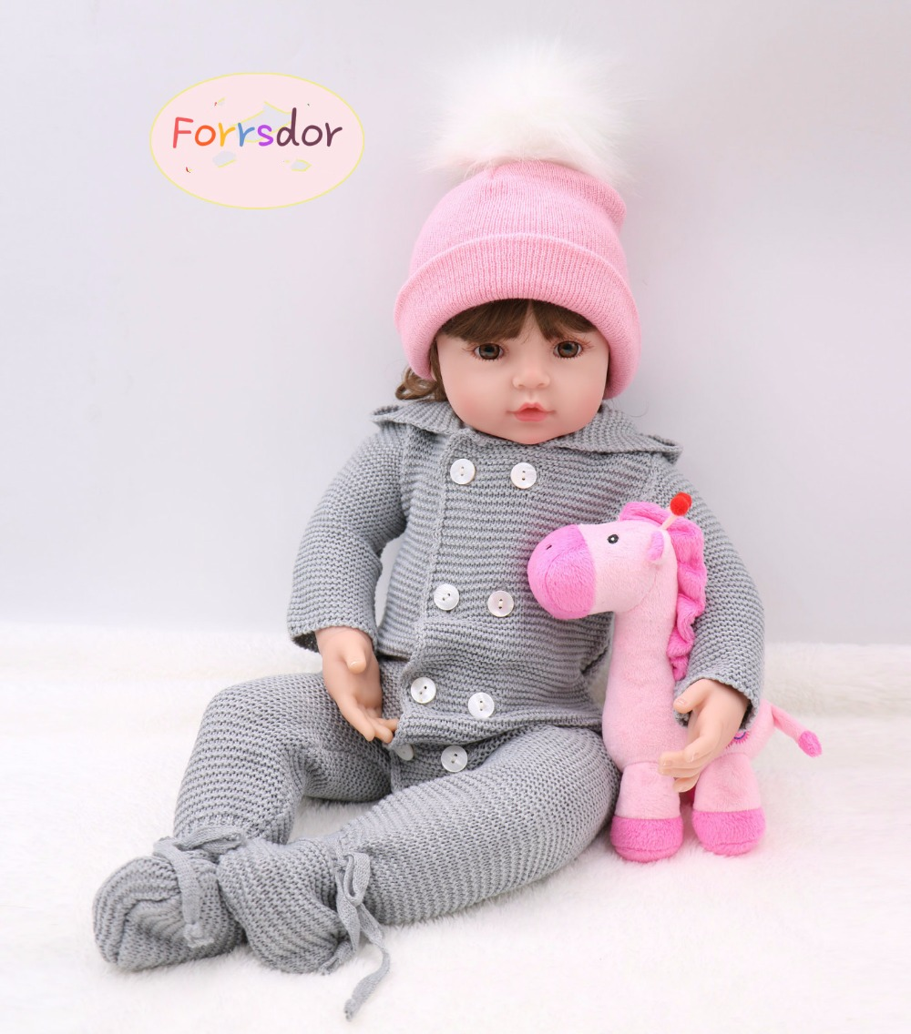 Forrsdor24in 60cm new arrival simulation newborn baby girl with plush toy best kids Christmas gifts silicone reborn baby dolls