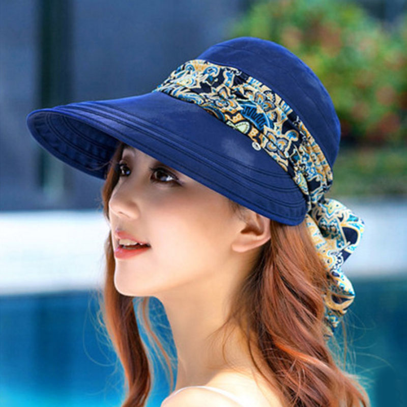 Casual Women Summer Beach Fashion Hats Sun Visors Cap Collapsible Anti-UV Hat Chapeau Femme Dropshipping