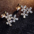 2017 New Arrival Exquisite Zirconia Lucky Leaf Clip Earrings Gold Plated Wedding Jewelry CC Earrings For Women Accessories