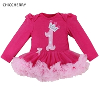 Hot Pink First Birthday Outfit For Baby Girl Long Sleeve Infant Lace Tutus Cotton Romper Dress