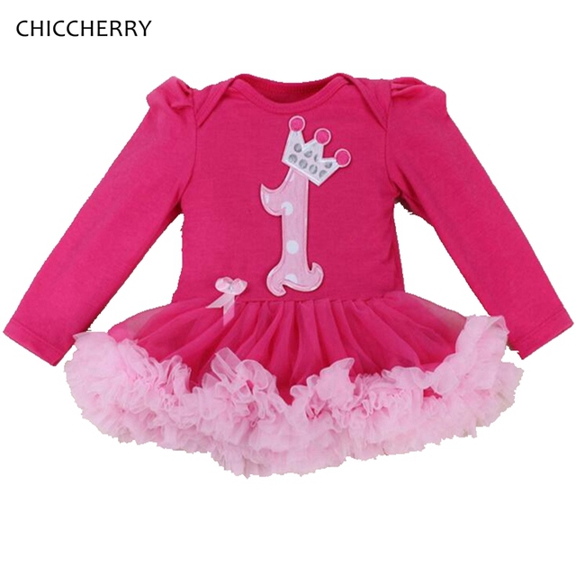 Hot Pink First Birthday Outfit for Baby Girl Long Sleeve Infant Lace Tutus Cotton Romper Dress Vestido Infantil Toddler Clothing