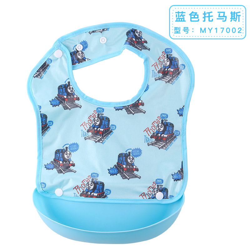 Thomas Baby Feeding Bibs Silicone Waterproof Pocket Baby Bib Adjustable Care Children Eating Smocks Cartoon Kid