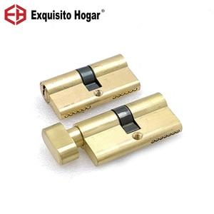 Gold Door Cylinder Biased Lock 60(30-30)mm Cylinder AB Key Anti-Theft Entrance Brass Door Lock Lengthened Core Extended Keys(China)