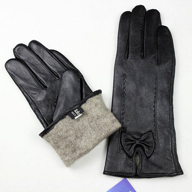 Leather Gloves Ladies Bow...