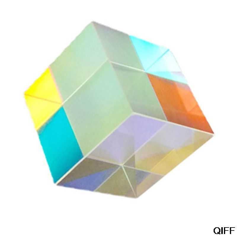 Combinador divisor Cruz dicroica cubo prisma RGB Prisma óptico prisma Triangular para enseñanza de Física de espectro de luz 20mm 3 de julio